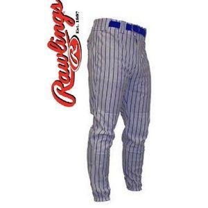 Rawlings Baseball Pants Grey Navy Pinstripe Small